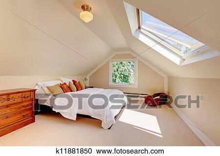 Stockfotografering   attic, moderne, soveværelse, hos, hvid, seng ...