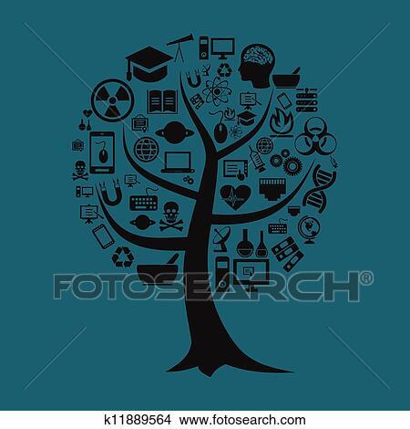 剪贴画 - 树, a, 科学