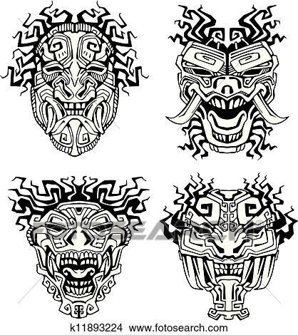 Aztec monster totem masks. Set of black and white vector illustrations ...