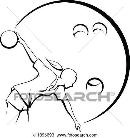 手绘图 - 女孩, 投球手