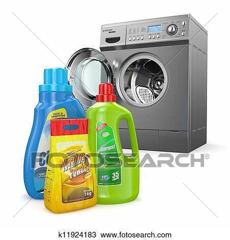 banque de photo machine laver et d tergent bouteilles k11924183 recherchez des images. Black Bedroom Furniture Sets. Home Design Ideas