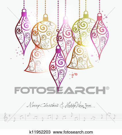 Clipart of Merry Christmas contemporary baubles k11952203 - Search ...