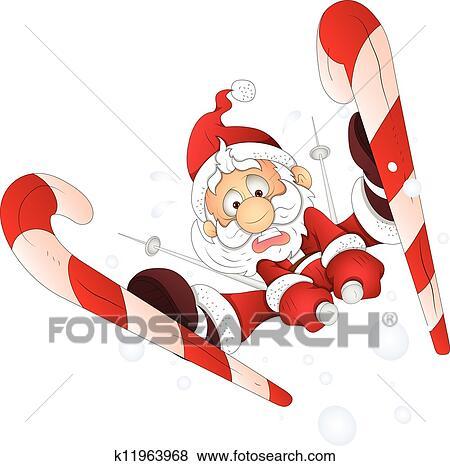 clip art lustig weihnachtsm nner ski fahrend. Black Bedroom Furniture Sets. Home Design Ideas
