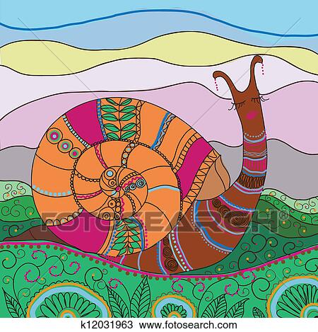 创意蜗牛儿童画