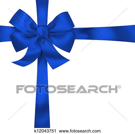 Stock Illustrations of Gift card note with blue ribbon bow ...