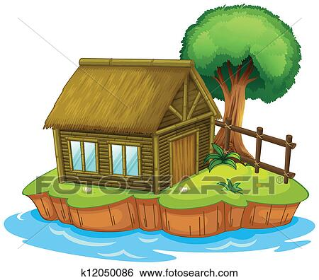 Clip Art Of A House And Tree On Island K12050086