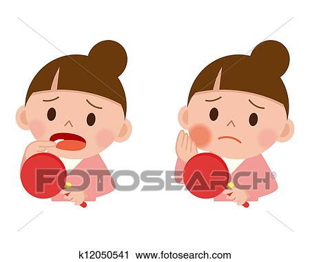 Clipart of Therefore women pain in tooth decay k12050541 - Search ...