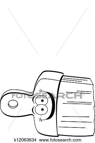 clipart of cartoon paintbrush black and white k12063634