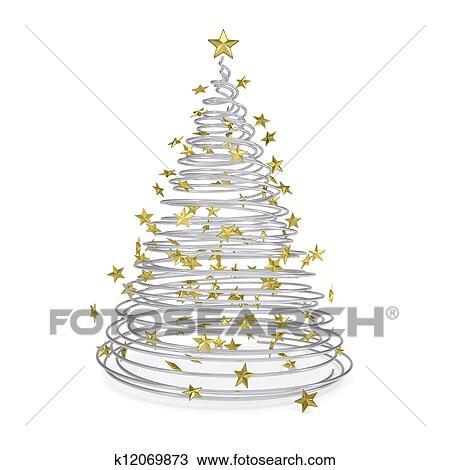 zeichnung 3d weihnachtsbaum gemacht von metall spiralen und gold sternen k12069873. Black Bedroom Furniture Sets. Home Design Ideas