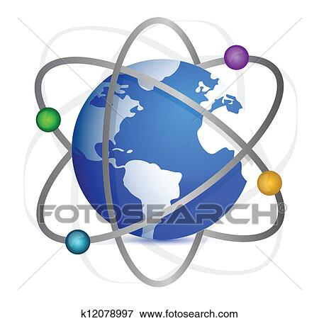 Clip Art of Earth with orbits of satellites. k12078997 ...