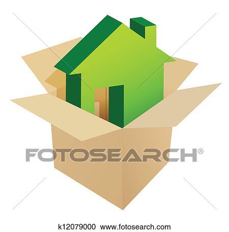 剪贴画 房子, 在中, 盒子