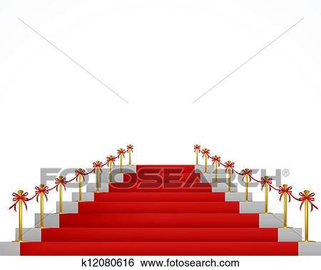 clipart moquette rouge et escalier pour vip persons vecteur k12080616 recherchez des. Black Bedroom Furniture Sets. Home Design Ideas
