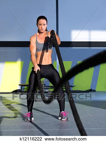 Stock Photo Of Cross Fit Battling Ropes At Gym Workout