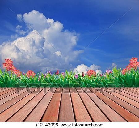 Banque d 39 image bois terrasse et jardin fleur k12143095 recherchez des photos des images - Foto terrasse bois ...