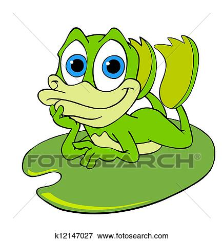 Stock Illustration of Cute Frog On A Lily Pad k12147027 ...
