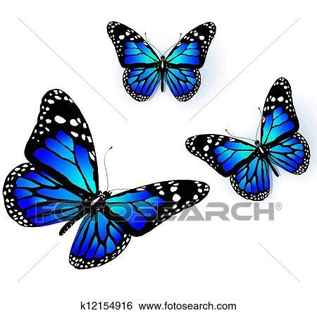 Banque d 39 illustrations trois papillons de bleu - Papillon dessin couleur ...