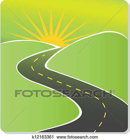 Clipart of vector winding road k8698022 - Search Clip Art ...