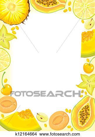 clipart jaune fruits et baies cadre k12164664 recherchez des clip arts des. Black Bedroom Furniture Sets. Home Design Ideas