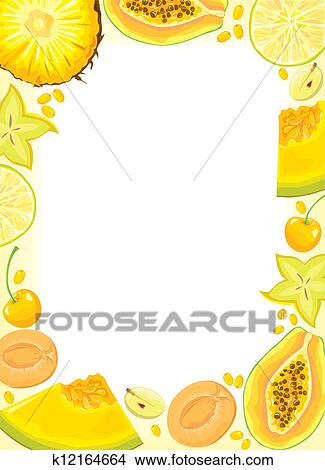 clipart jaune fruits et baies cadre k12164664. Black Bedroom Furniture Sets. Home Design Ideas