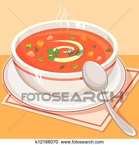 Clipart of Tomato vegetable soup k12166070 - Search Clip ...
