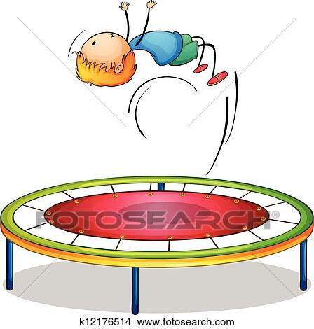 Clipart of A boy playing trampoline k12176514 - Search Clip Art ...
