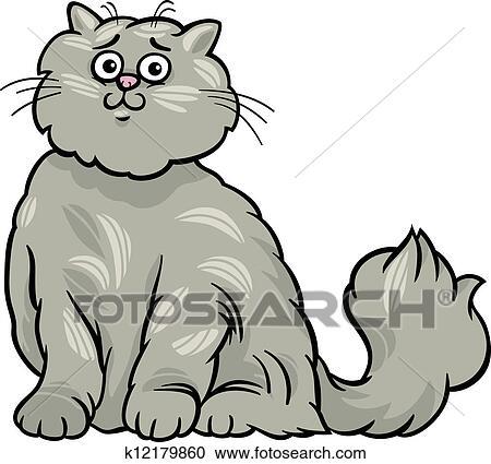 Clipart gatto persiano cartone animato illustrazione for Gatto clipart