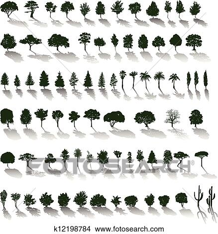 Clipart - Vector trees with shadows. Fotosearch - Search Clip Art ...