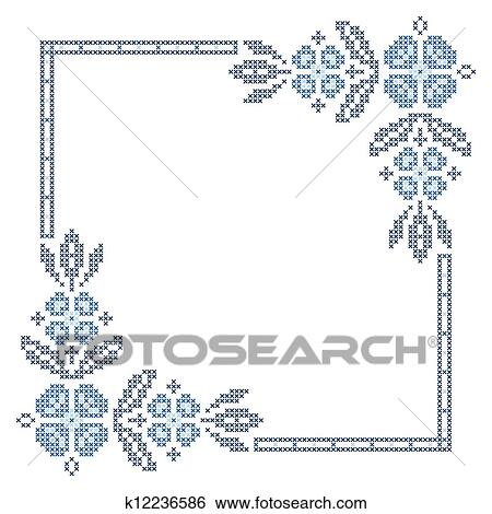 Clip Art of Cross-stitch embroidery in Ukrainian style k12236586 ...