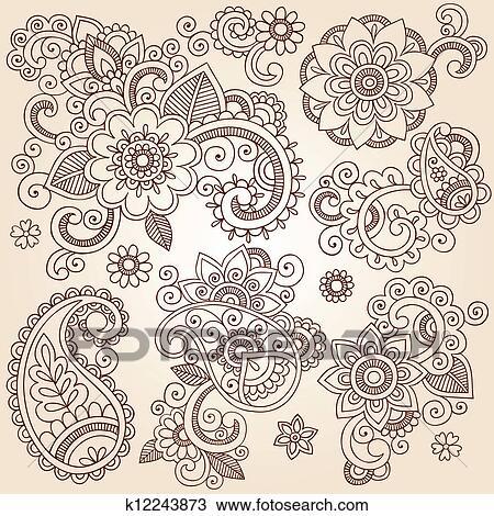 Clipart Of Henna Flower Tattoo Design Elements K12243873