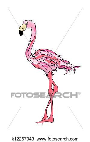 手绘图 - 火烈鸟
