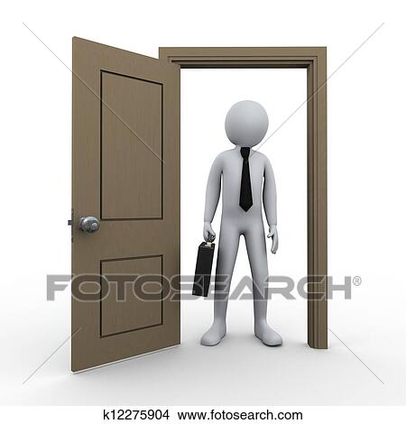 Dessins 3d homme affaires et porte ouverte k12275904 for Porte ouverte dessin