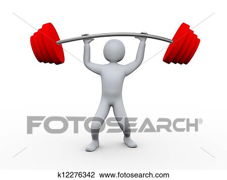 clip art of 3d person lifting heavy weight