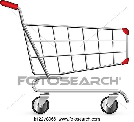 Clip Art of Side view of empty shopping cart isolated on ...