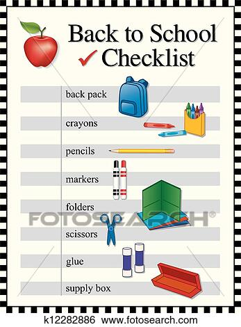 school text box clipart. checklist for back to school supplies backpack crayons pencils markers folders scissors glue supply box graphic illustrations in black and white text clipart