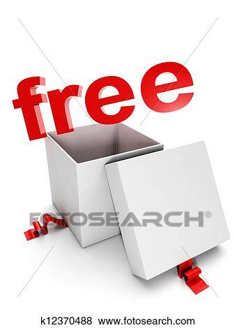 images bo te cadeau sur a fond blanc et les mots gratuite k12370488 recherchez des. Black Bedroom Furniture Sets. Home Design Ideas