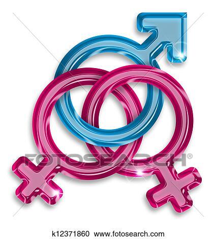 banque d 39 illustrations symbole de a amour triangle entre deux femmes et a homme. Black Bedroom Furniture Sets. Home Design Ideas