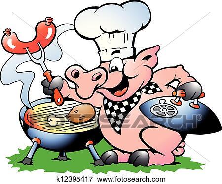 Clipart chef cuistot cochon debout et confection - Dessin cochon debout ...