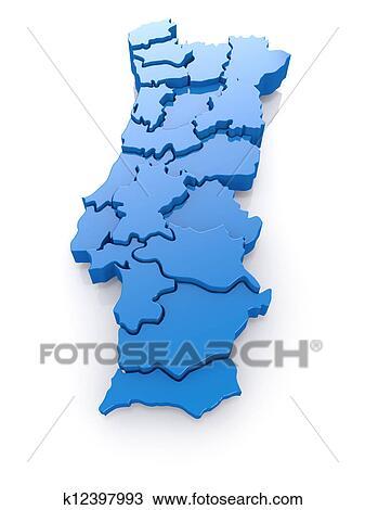 手绘图 - 三维, 地图, 在中, 葡萄牙