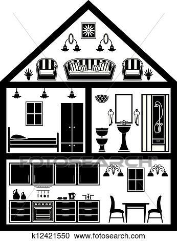 Clipart Ic Ne De Maison Planification K12421550