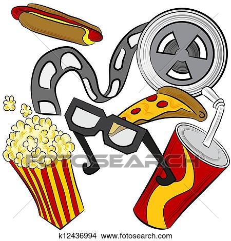 Clipart of Movie Theater Objects k12436994 - Search Clip Art ...