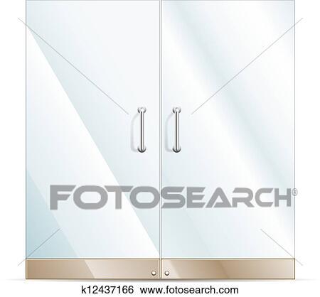 Glass Doors Clipart clip art of glass door k12437166 - search clipart, illustration