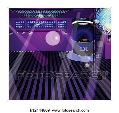 Clipart bo te nuit int rieur k12444809 recherchez des cliparts des illu - Interieur boite de nuit ...