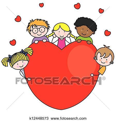 Clipart gruppo bambini con uno cuore k12448573 for Clipart cuore