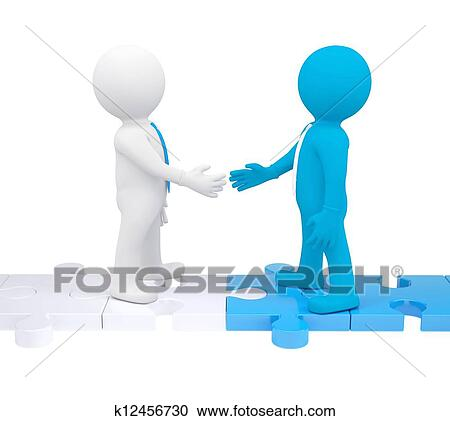 Stock Illustrations of Two 3d people shaking hands k12456730 ...