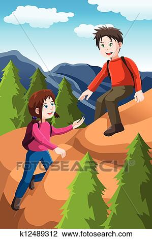 Clipart Of Kids Hiking K12489312