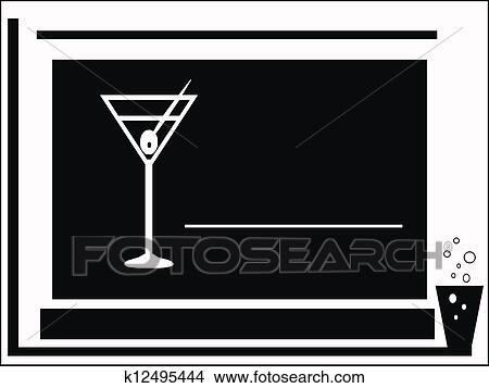 手繪圖 - 雞尾酒會, black-white