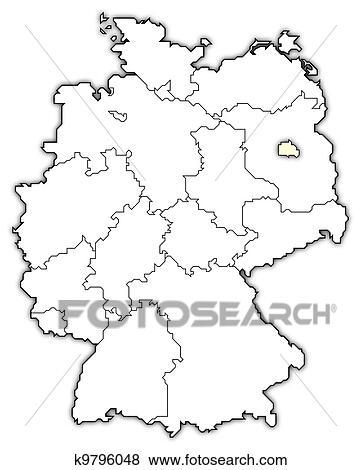 stock illustration deutschlandkarte berlin hervorgehoben k9796048 suche clip art. Black Bedroom Furniture Sets. Home Design Ideas