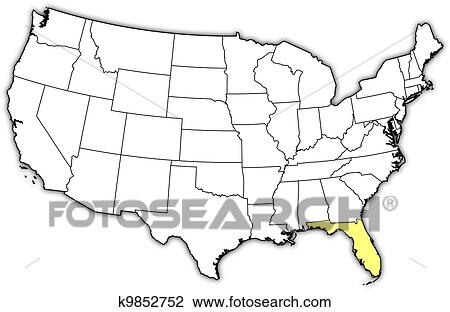 Clipart Of Map Of The United States Florida Highlighted K - Us map eps