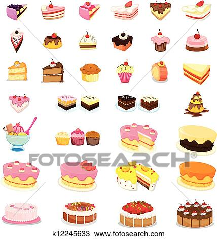 clipart of mixed cakes and desserts k12245633 search clip art rh fotosearch com clip art desert images clipart desert