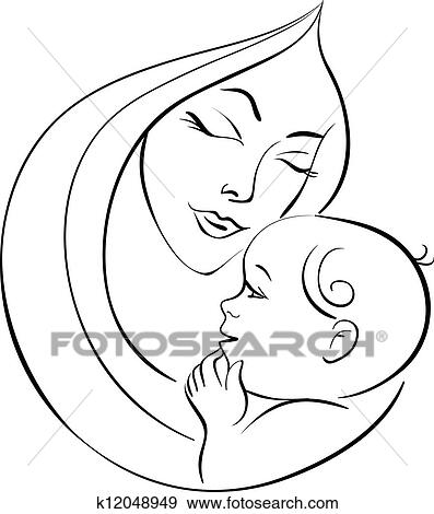 Clip Art Of Mother And Baby K12048949 Search Clipart